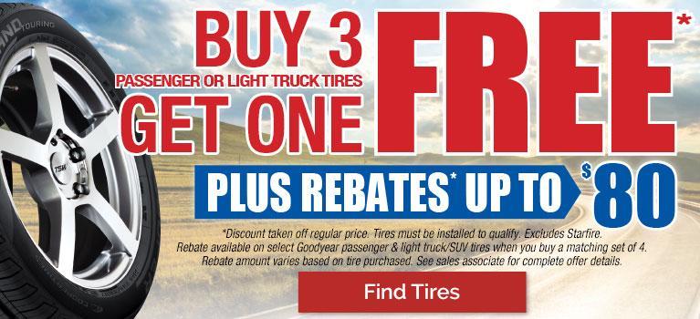 Buy 3 Get 1 Free Tires