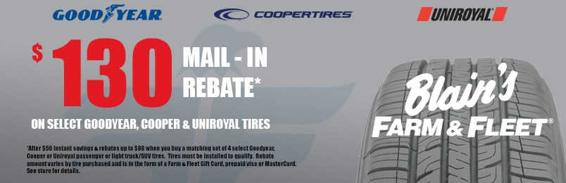 Save up to $130 on select Goodyear cooper &Uniroyal Tires