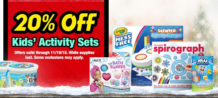 20% off All Kids' Activity Sets