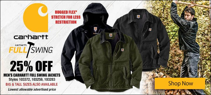 25% Off Men's Carhartt Full Swing Jackets