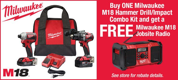 FREE Milwaukee Jobsite Radio with Combo Kit Purchase