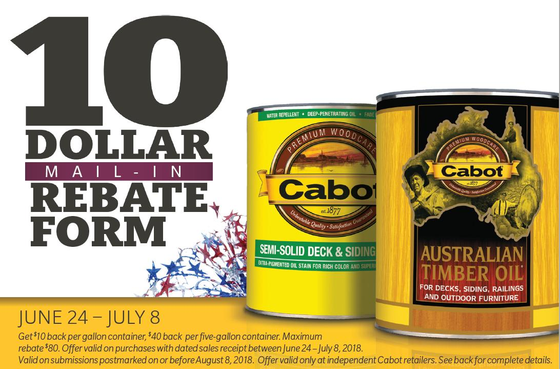 Cabot Paint July 4th Rebate