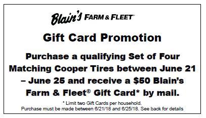 $50 Gift Card Cooper Tire June 2018 Rebate