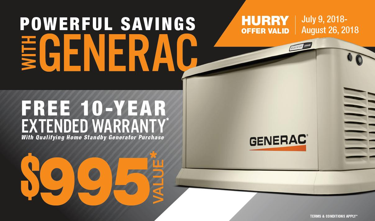Generac® Free 10-Year Extended Warranty Offer