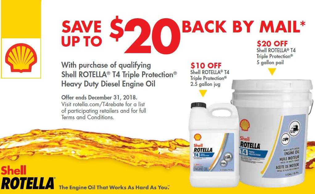 Shell Rotella Save $20 Mail In Rebate