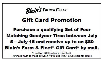 Goodyear $80 Blain's Gift Card Early July 2018