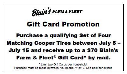 Cooper Tire Gift Card $50 or $70 July 2018 Rebate