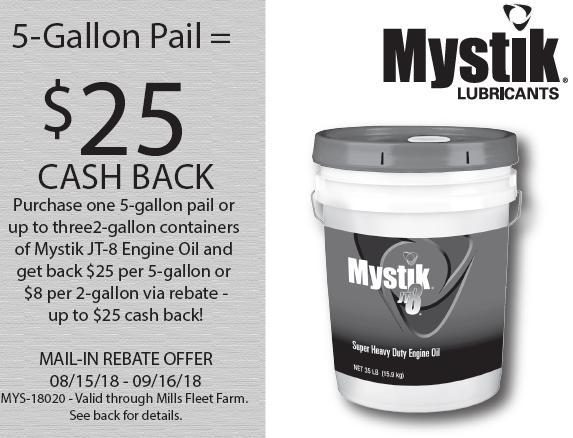 Mystik JT-8 Engine Oil $25 Mail In Rebate