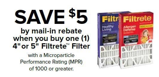 "Filtret $5 Mail In Rebate 4"" or 5"" Filter"