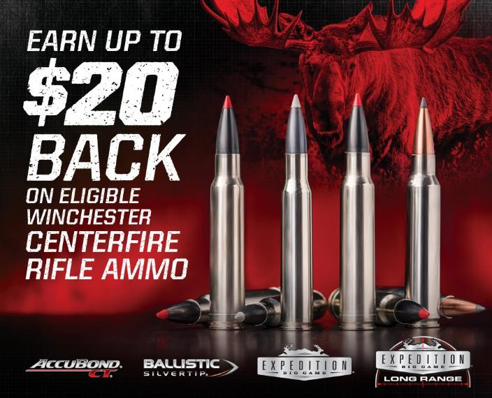 Winchester Centerfire Rifle Ammo $20 Back