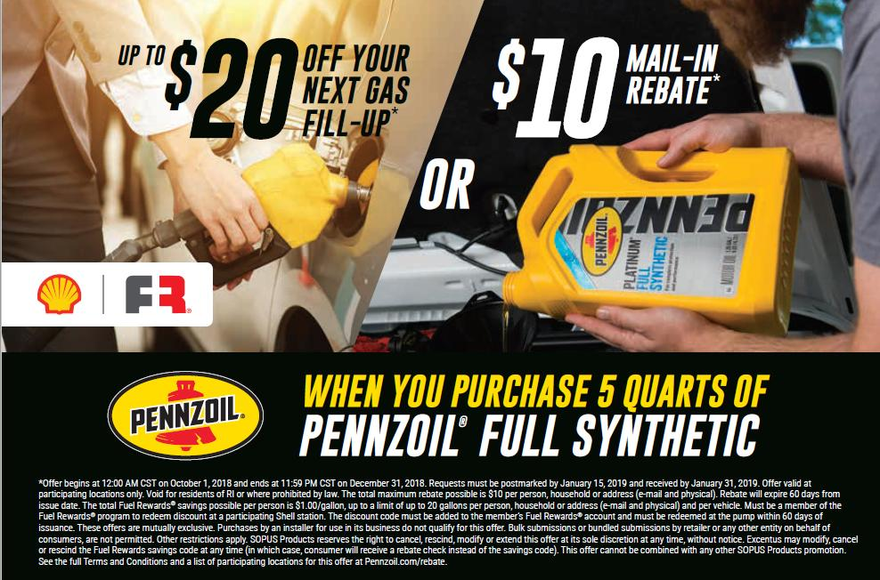 Pennzoil Synthetic $20 Gas Fill-Up or $10 Rebate
