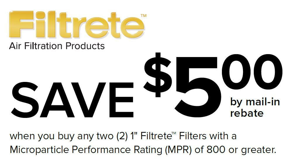 Save $5 on two Filtrete with a MPR of 800(+)